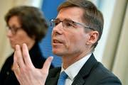 ETH-Präsident Joel Mesot während der Medienorientierung . (KEYSTONE/Walter Bieri, Zürich, 14. März 2019)