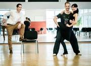 Ex-Miss Schweiz Anita Buri trainiert mit Tanz-Coach Michal Vajcik im Dancemore in Frauenfeld für die SRF-Tanzsendung «Darf ich bitten?». (Bild: Reto Martin)