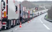 Lastwagen warten auf der Autobahn A16 darauf, von Zöllnern kontrolliert zu werden. Bild: Denis Charlet/AFP (Calais, 14. März 2019)