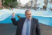 Der Führer der Krimtataren, Refat Tschubarow, bei einer Demonstration in Kiew. Bild: Danil Shamkin/Getty (Kiew, 26. Juni 2018)
