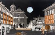 Die Zellweger-Paläste in Trogen bilden die Kulisse des Freilufttheaters «Das glückselige Leben». (Visualisierung: PD)