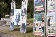 Wahlplakate beim Bellpark in Kriens. (Bild: Manuela Jans-Koch, 9. März 2019)