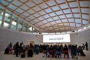 Blick in den Bieler Sitz der Swatch Group während der Jahresbilanz-Konferenz vergangenen Donnerstag. (Bild: Anthony Anex/Keystone)