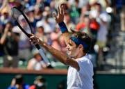 Bei diesem Siegjubel nach dem Viertelfinal wusste Roger Federer noch nicht, dass er mit diesem 6:4, 6:4-Erfolg über Hubert Hurkacz schon das Finalticket in Indian Wells löste. (Bild: AP Photo/Mark J. Terrill, 15. März 2019)