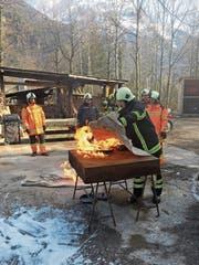 Die Einsatzkräfte der Feuerwehr wurden unter anderem zum Thema Brandbekämpfung geschult. (Bild: PD)