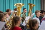Bläserinnen und Bläser der Knabenmusik St.Gallen an einer Probe fürs Jahreskonzert 2018. (Bild: Michel Canonica - 14. Juni 2018)