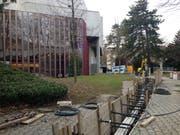 Die Fernwärme-Baustelle der St.Galler Stadtwerke beim Theater im Stadtpark. (Bild: Reto Voneschen - 12. März 2019)