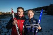Ski-Orientierungslauf und Orientierungslauf sind ihre Disziplinen: die Geschwister Lukas und Eliane Deininger am Anfang ihrer Karriere. (Bild: Michel Canonica - 13.2.2014)