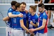 Die Luzerner Spieler haben gut lachen, der erste Schritt Richtung Viertelfinals ist geschafft. (Bild: Philipp Schmidli, Luzern, 16. März 2019)