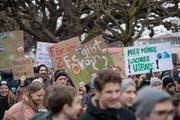 Demonstration fürs Klima beim Pavillon am Nationalquai in Luzern. (Bild: Pius Amrein, 2.Februar 2019)