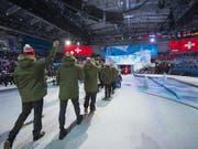Die Schweizer Delegation beim Einlauf anlässlich der Eröffnungsfeier der 29. Winter-Universiade in der russischen Stadt Krasnojarsk (Bild: Maria Schmid FOTOGRAFIE)