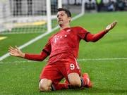 Robert Lewandowski wie gewohnt: Der Pole traf auch in Gladbach für die Bayern (Bild: KEYSTONE/AP/MARTIN MEISSNER)