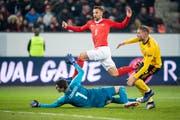 Haris Seferovic erzielte beim 5:2-Sieg gegen Belgien drei Tore. Bild: Ennio Leanza/KEY