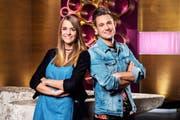 «Glanz & Gloria» ist nächste Woche ganz ihre Sendung: Loredana und Kilian Bamert-Carrabs aus Buchs kreieren die Inhalte und übernehmen auch die Moderationsaufgabe. (Bild: SRF/Oscar Alessio)