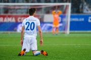 Nichts zu holen für FCL-Stürmer Shkelqim Demhasaj und seine Mitspieler im Testmatch in Lausanne. (Bild: Martin Meienberger/Freshfocus (Thun, 17. März 2019))