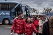 Touristen beim Carparkplatz am Schwanenplatz. (Bild: Nadia Schärli, Luzern, 15. März 2019)