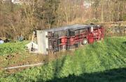 Der Chauffeur des Lastwagens erlag noch am Unfallort seinen schweren Verletzungen. (Bild: Luzerner Polizei, 22. März 2019)