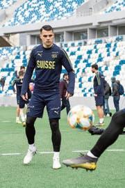 Granit Xhaka beim Training im Stadion in Tiflis. (Bild: Ennio Leanza/Keystone (22. März 2019))