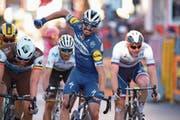 Streckt gleich die Siegerfaust in die Höhe: der Franzose Julian Alaphilippe. (Bild: Dario Belingheri/Keystone (Sanremo, 23. März 2019))
