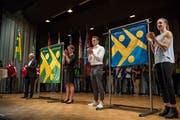 Der Turnverein Altbüron weihte am Samstag in der Mehrzweckhalle feierlich zwei neue Fahnen ein. (Bild: Dominik Wunderli, Altbüron, 23. März 2019)