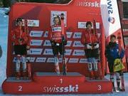 Das Podest des Swiss-Cups: 1. Anja Christen (Oberrickenbach), 2. Luana Bösch, 3. Alessia Bösch (beide Engelberg). Bild: pd (Flumserberg, 24. März 2019)