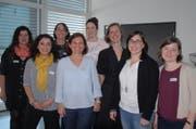 Der Vorstand mit neuem Mitglied: Erika Freudenthal, Sabrina Disabato, Anja Brunner, Gabriela Rassel, Angela Dennler, Edith Pensa Gerber, Céline Moser und Katrin Henauer. (Bild: Kurt Peter)