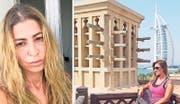 Iman Gustafsson heute und im September 2017 mit dem bekannten Burj al Arab im Hintergrund: Damals konnte sie Dubai noch geniessen. (Bilder: PD)