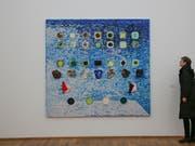 «Apps for Obama» heisst eines der Werke des US-amerikanischen Künstlers Jack Whitten. Es ist Teil der Ausstellung «Jack's Jacks» im Hamburger Bahnhof in Berlin. (Bild: KEYSTONE/AP/MARKUS SCHREIBER)