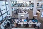 Der Newsroom an der Fürstenlandstrasse in St. Gallen (Bild: Urs Bucher)