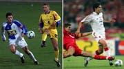 Links: GC-Spieler Michai Tararache im Zweikampf mit St.Gallens Jairo. Rechts: Liverpools Steven Gerrard mit der Grätsche gegen Milans Kaka. (Bilder: Keystone)