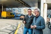 Gesamtprojektleiter Stefan Huonder (links) und Stadtrat Adrian Borgula an der Obergrundstrasse. (Bilder: Dominik Wunderli, Luzern, 28. März 2019)