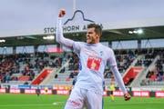 Im letzten Ligaspiel in Thun (1:1) bejubelt FCL-Linksaussen Pascal Schürpf sein achtes Saisontor, dazu kommen noch die beiden Treffer im gewonnenen Cup-Viertelfinal gegen YB. (Bild: Martin Meienberger/Freshfocus (17. März 2019))