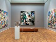 Die Gemälde «Hommage an Blériot» von Robert Delaunay, «Udnie» von Francis Picabia und «Elektrische Prismen» von Sonja Delaunay (von links nach rechts) in der Ausstellung «Kosmos Kubismus. Von Picasso bis Léger» im Kunstmuseum Basel; im Vordergrund der «Tänzer «von Alexander Archipenko. (Bild: KEYSTONE/GEORGIOS KEFALAS)