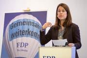 Die FDP-Präsidentin Petra Gössi bei einer Rede. (Bild: Keystone/ Urs Flüeler, Aarau, 1. Februar 2019)