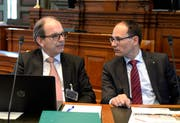 Die St.Galler Regierungsräte Bruno Damann und Marc Mächler. (Bild: Regina Kühne)