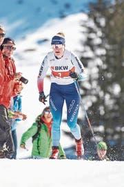 Nadine Fähndrich auf dem Weg zum Schweizer Meistertitel. Bild: Urs Flüeler/Keystone (Engelberg, 29. März 2019)