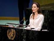 Angelina Jolie während ihrer Rede vor der Uno-Vollversammlung in New York. (Bild: KEYSTONE/AP/BEBETO MATTHEWS)