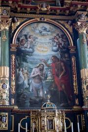 Es gehört zu den kostbarsten und qualitätvollsten Sakralkunstwerken der Zentralschweiz: die «Taufe Jesu» von Bruder Seraphin Schön in der Pfarrkirche von Menzingen. (Bild: Maria Schmid, 29. März 2019)