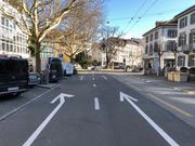 Die Unfallstelle auf dem Oberen Graben zwischen dem Café Seeger und dem Café News. (Bild: Stadtpolizei St.Gallen - 28. März 2019)