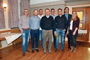 Der Vorstand des FC Kirchberg, von links: René Kuhn, Daniel Wili, Stefan Schönenberger, Dieter Gähwiler (Präsident, neu), Stefan Müller, Philippe Gähwiler (Vizepräsident, neu), Tobias Kuhn, und Sibylle Krapf. (Bild: Beat Lanzendorfer)