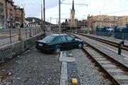 Die Unfallstelle beim Gaiserbahnhof, links die St.-Leonhard-Strasse. (Bild: Stadtpolizei St.Gallen - 3. März 2019)