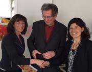 Heidi Hanselmann, Spitex-Ost-Präsident Rolf Weiss und Spitex-Ost-Geschäftsführerin Andreas Hornstein am Tag der Kranken. (Bild: PD - 3. März 2019)