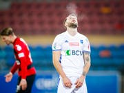 Lausannes Torschütze Roman Buess, hier in einem früheren Spiel gegen Kriens (Bild: KEYSTONE/VALENTIN FLAURAUD)