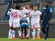 Früher Sittener Jubel: Schon nach sechs Minuten fiel das 1:0 gegen den FCZ (Bild: KEYSTONE/LAURENT GILLIERON)