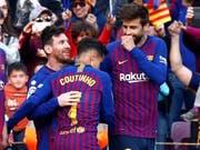 Lionel Messi, Philippe Coutinho und Gerard Piqué freuen sich über einen weiteren Sieg (Bild: KEYSTONE/EPA EFE/QUIQUE GARCIA)