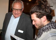Ernst Dobler, Präsident des Gewerbevereins, durfte Jann Kessler, Mitorganisator des Klimastreiks, als Referenten begrüssen. (Bild: Philipp Stutz)