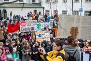 Am Samstag, 2. Februar, gingen in St.Gallen Jugendliche für das Klima auf die Strasse. (Bild: Mareycke Frehner)