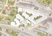Das Projekt für die Feldmühle, mit bestehenden und neuen Bauten. Nicht ersichtlich ist die geplante Einfahrt für die Unterführung beim Platz zum Stadtbahnhof. (Bild: PD)