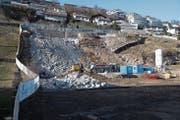 Hier werden die Mehrfamilienhäuser gebaut. (Bild: Boris Bürgisser (Ennetbürgen, 21. Februar 2019))