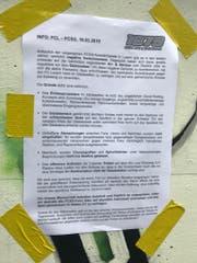 Dieses Infoblatt wurde beim letzten Heimspiel im Kybunpark in St. Gallen angebracht.